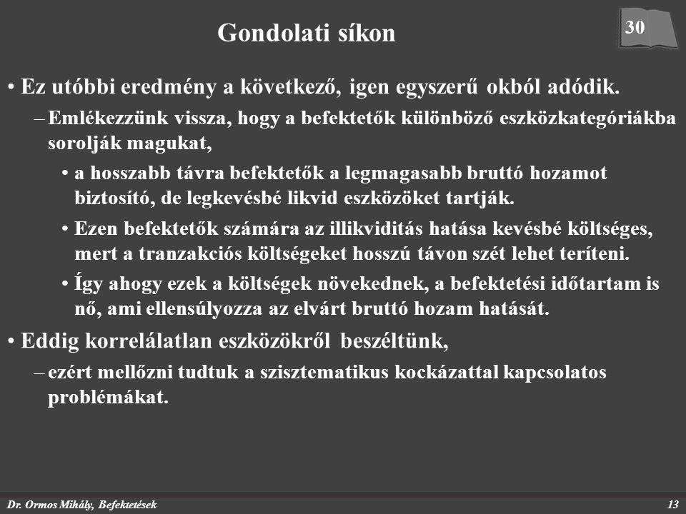 Dr. Ormos Mihály, Befektetések13 Gondolati síkon Ez utóbbi eredmény a következő, igen egyszerű okból adódik. –Emlékezzünk vissza, hogy a befektetők kü