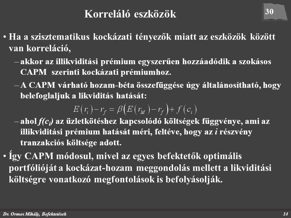 Dr. Ormos Mihály, Befektetések14 Korreláló eszközök Ha a szisztematikus kockázati tényezők miatt az eszközök között van korreláció, –akkor az illikvid