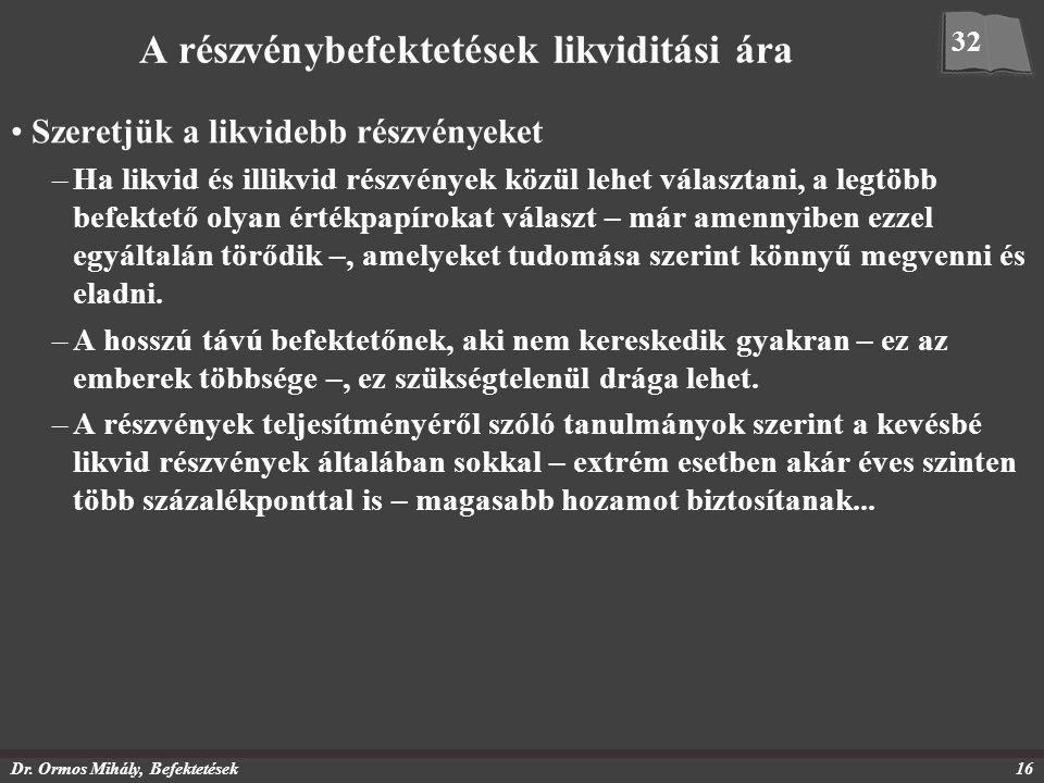 Dr. Ormos Mihály, Befektetések16 A részvénybefektetések likviditási ára Szeretjük a likvidebb részvényeket –Ha likvid és illikvid részvények közül leh