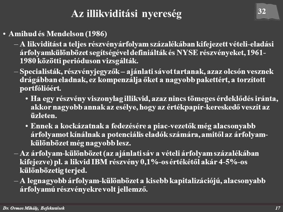 Dr. Ormos Mihály, Befektetések17 Az illikviditási nyereség Amihud és Mendelson (1986) –A likviditást a teljes részvényárfolyam százalékában kifejezett