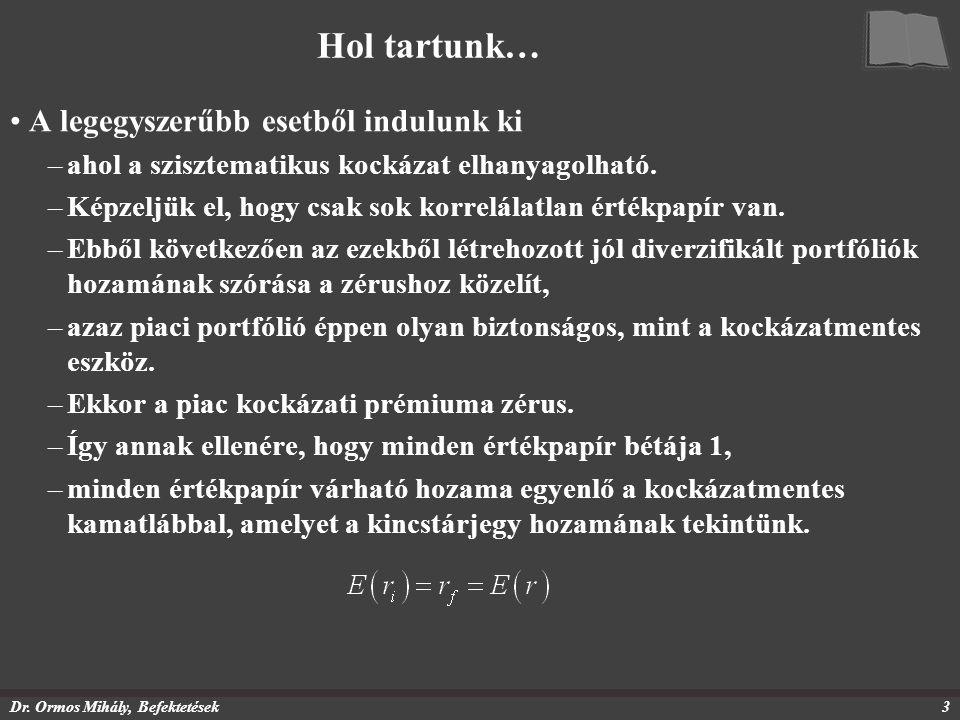 Dr. Ormos Mihály, Befektetések3 Hol tartunk… A legegyszerűbb esetből indulunk ki –ahol a szisztematikus kockázat elhanyagolható. –Képzeljük el, hogy c
