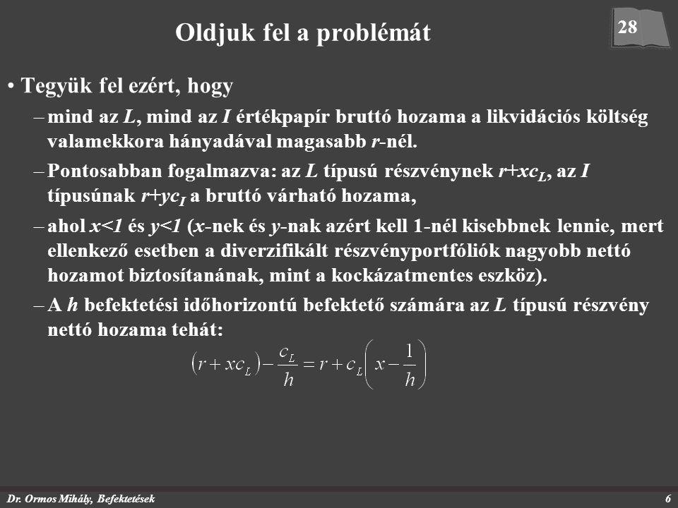 Dr. Ormos Mihály, Befektetések6 Oldjuk fel a problémát Tegyük fel ezért, hogy –mind az L, mind az I értékpapír bruttó hozama a likvidációs költség val