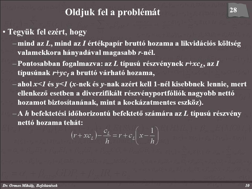 Dr. Ormos Mihály, Befektetések10 Oldjuk fel a problémát Tegyük fel ezért, hogy –mind az L, mind az I értékpapír bruttó hozama a likvidációs költség va