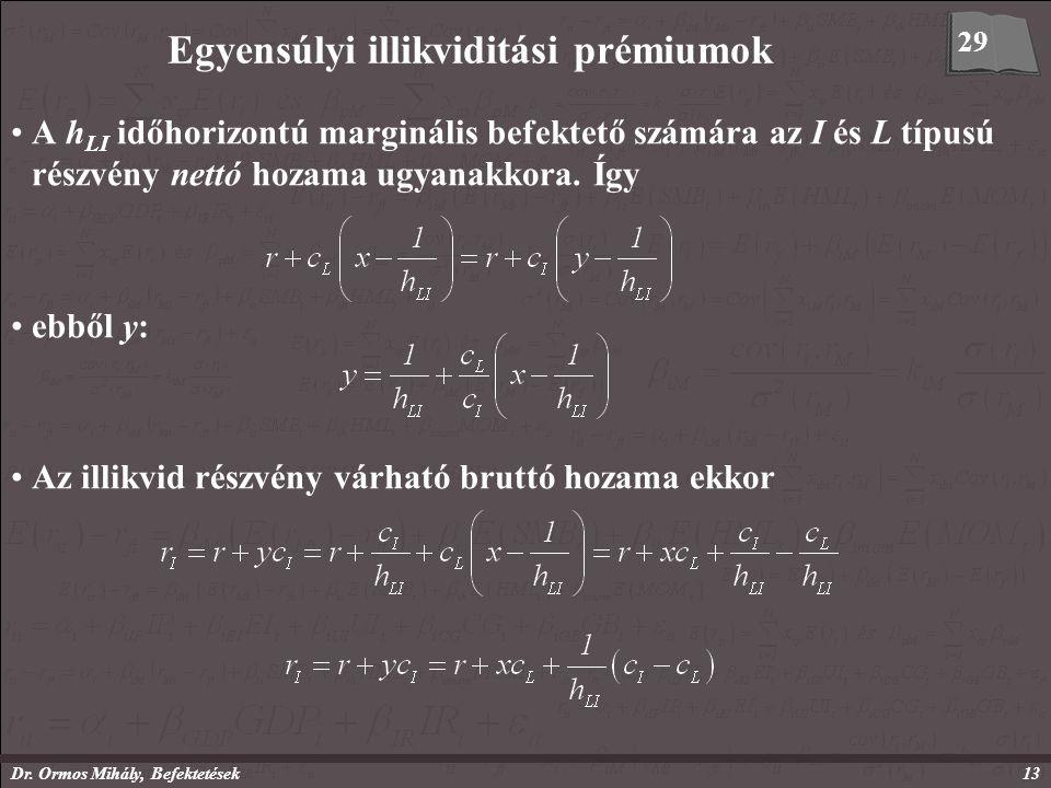 Dr. Ormos Mihály, Befektetések13 Egyensúlyi illikviditási prémiumok A h LI időhorizontú marginális befektető számára az I és L típusú részvény nettó h