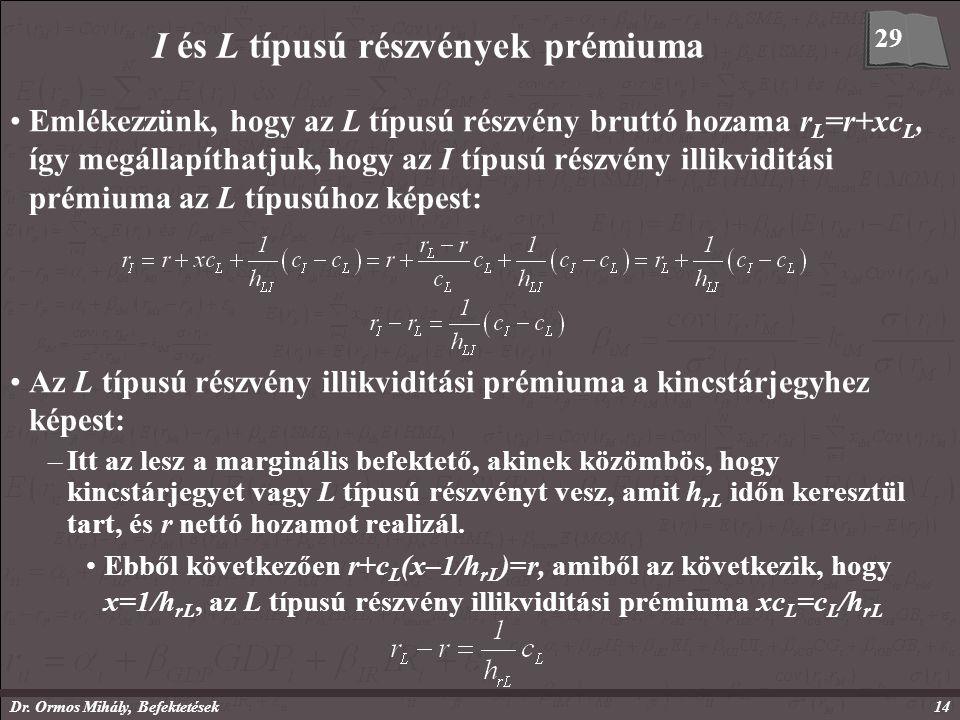 Dr. Ormos Mihály, Befektetések14 I és L típusú részvények prémiuma Emlékezzünk, hogy az L típusú részvény bruttó hozama r L =r+xc L, így megállapíthat