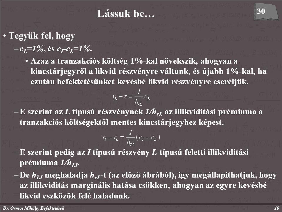 Dr. Ormos Mihály, Befektetések16 Lássuk be… Tegyük fel, hogy –c L =1%, és c I -c L =1%.