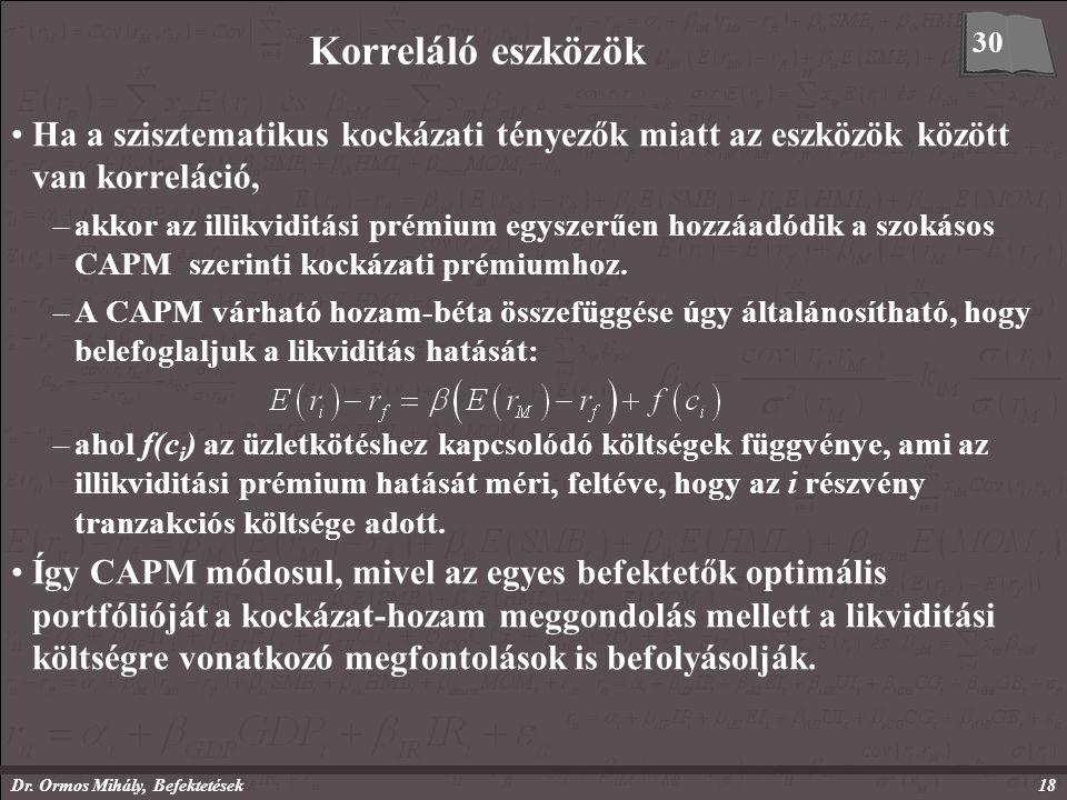 Dr. Ormos Mihály, Befektetések18 Korreláló eszközök Ha a szisztematikus kockázati tényezők miatt az eszközök között van korreláció, –akkor az illikvid