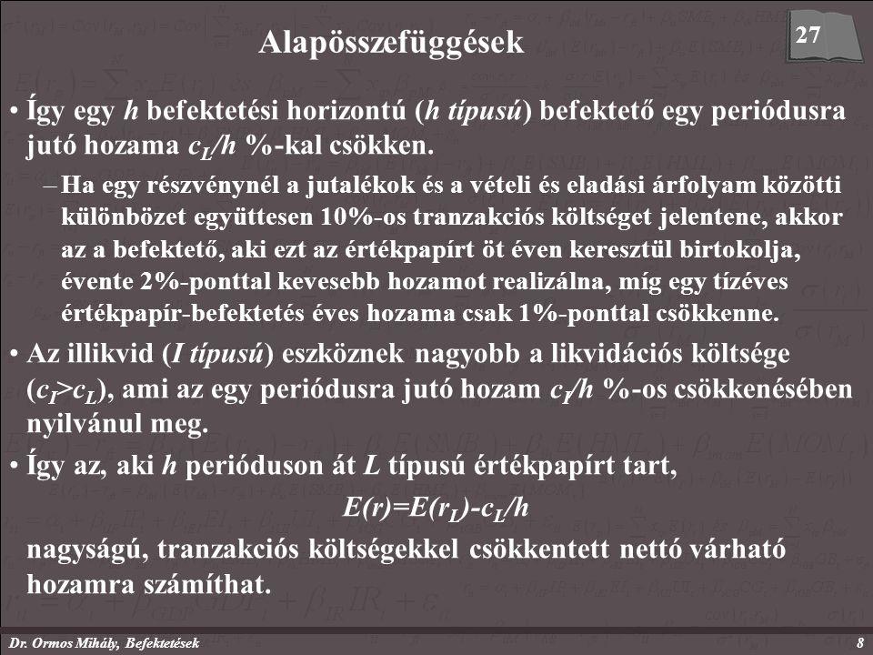 Dr. Ormos Mihály, Befektetések8 Alapösszefüggések Így egy h befektetési horizontú (h típusú) befektető egy periódusra jutó hozama c L /h %-kal csökken