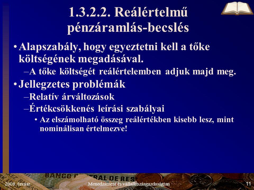 2008. tavasz11Menedzsment és vállalkozásgazdaságtan 1.3.2.2.