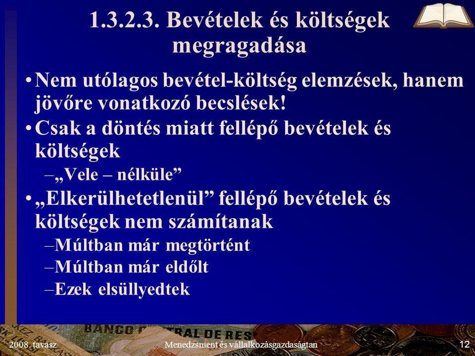 2008. tavasz12Menedzsment és vállalkozásgazdaságtan 1.3.2.3.