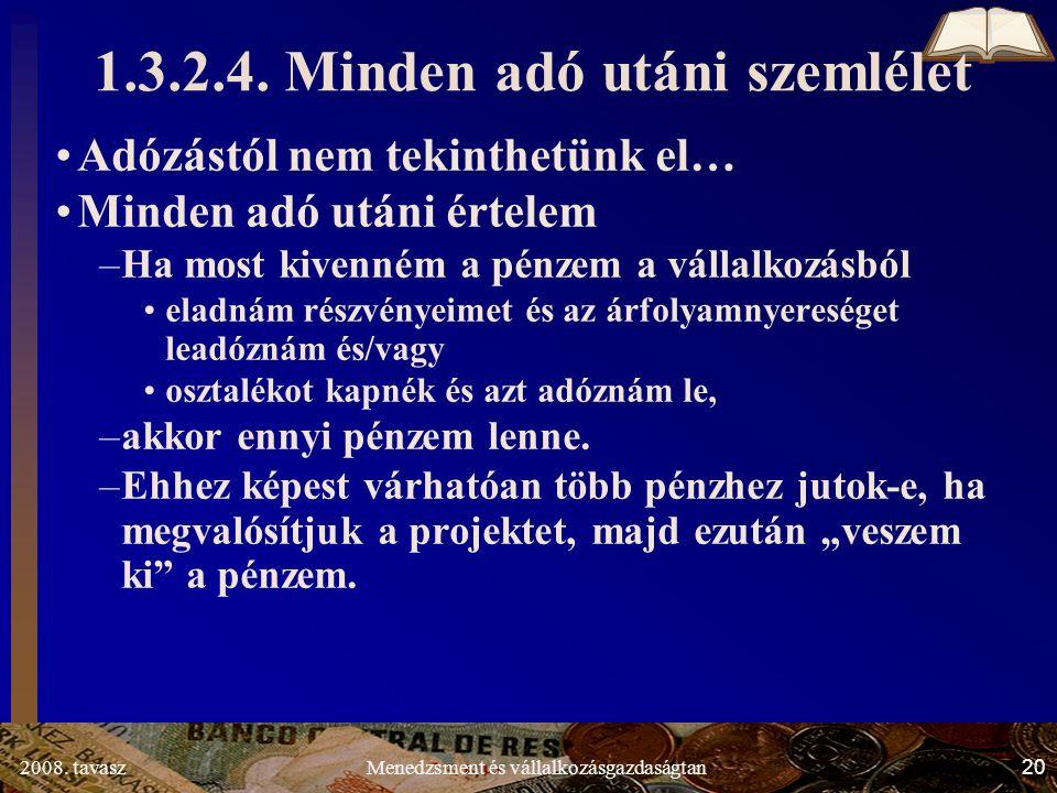 2008. tavasz20Menedzsment és vállalkozásgazdaságtan 1.3.2.4.