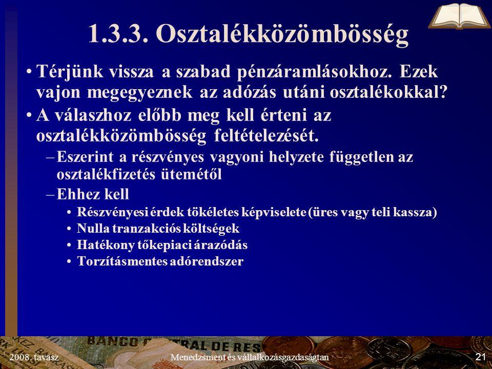 2008. tavasz21Menedzsment és vállalkozásgazdaságtan 1.3.3.