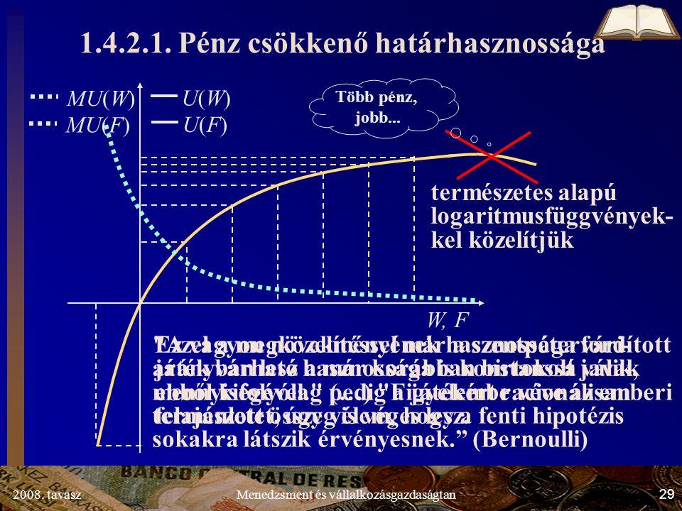 2008. tavasz29Menedzsment és vállalkozásgazdaságtan MU(F) MU(W) Több pénz, jobb...