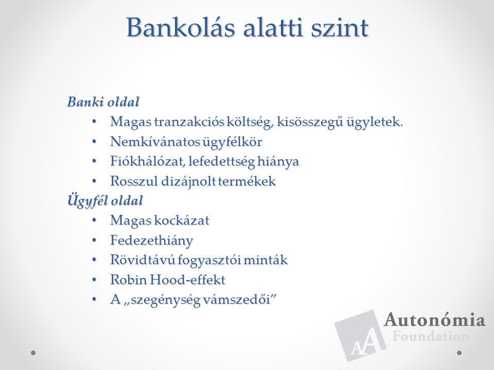 Bankolás alatti szint Banki oldal Magas tranzakciós költség, kisösszegű ügyletek.