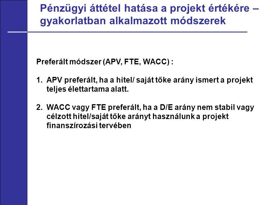 Pénzügyi áttétel hatása a projekt értékére – gyakorlatban alkalmazott módszerek Preferált módszer (APV, FTE, WACC) : 1.APV preferált, ha a hitel/ saját tőke arány ismert a projekt teljes élettartama alatt.