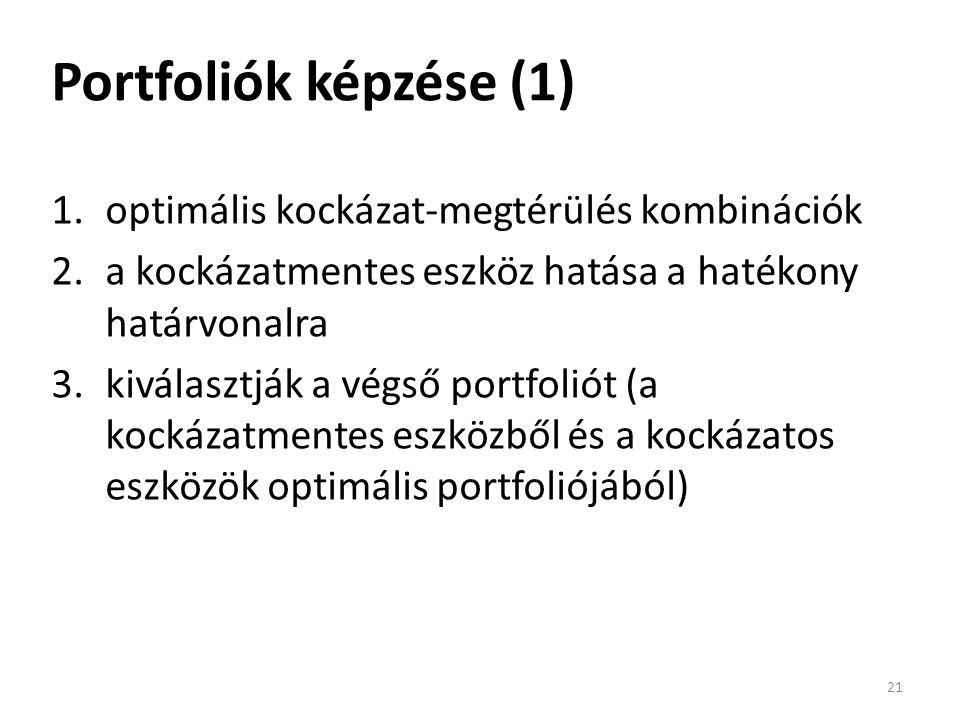 Portfoliók képzése (1) 1.optimális kockázat-megtérülés kombinációk 2.a kockázatmentes eszköz hatása a hatékony határvonalra 3.kiválasztják a végső portfoliót (a kockázatmentes eszközből és a kockázatos eszközök optimális portfoliójából) 21