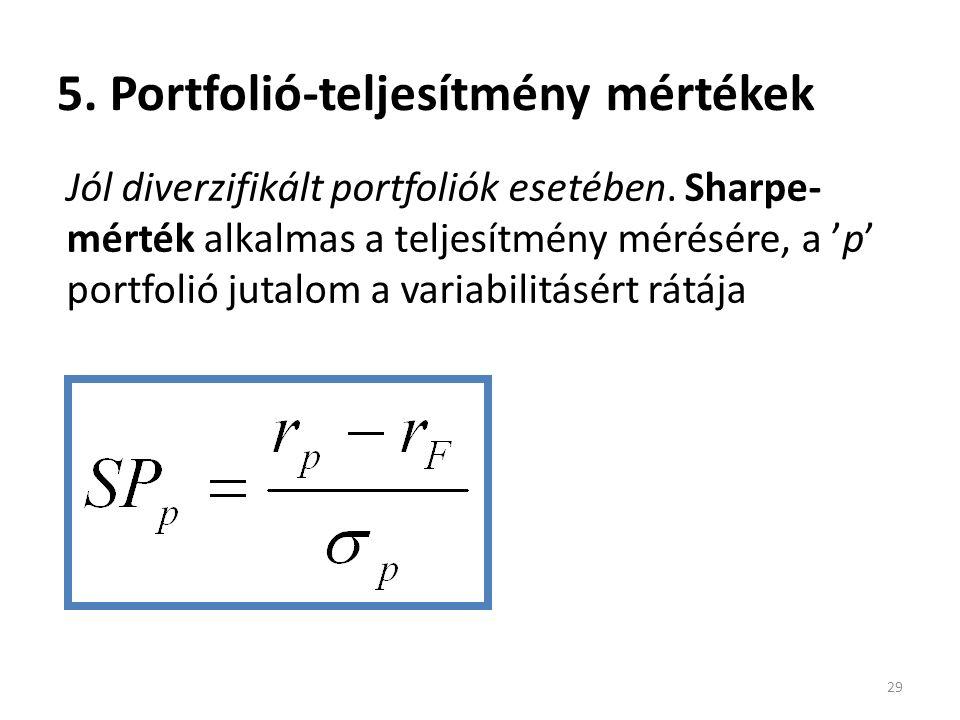 5. Portfolió-teljesítmény mértékek 29 Jól diverzifikált portfoliók esetében. Sharpe- mérték alkalmas a teljesítmény mérésére, a 'p' portfolió jutalom