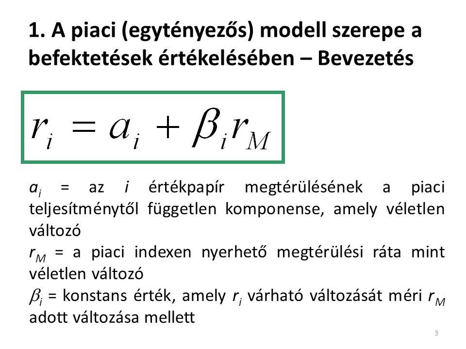 Példa az egytényezős modellre 14 Hónap Részvény megtérülés Piaci megtérülés riri = ii +βirMβirM +  j (3)-[(4)+(5)] (1)(2)(3)(4)(5)(6) 1104 =2+6+2 2323=2+3-2 3158 =2+12+1 4969=2+9-2 5303=2+0+1 40204010300 β i = 1,5