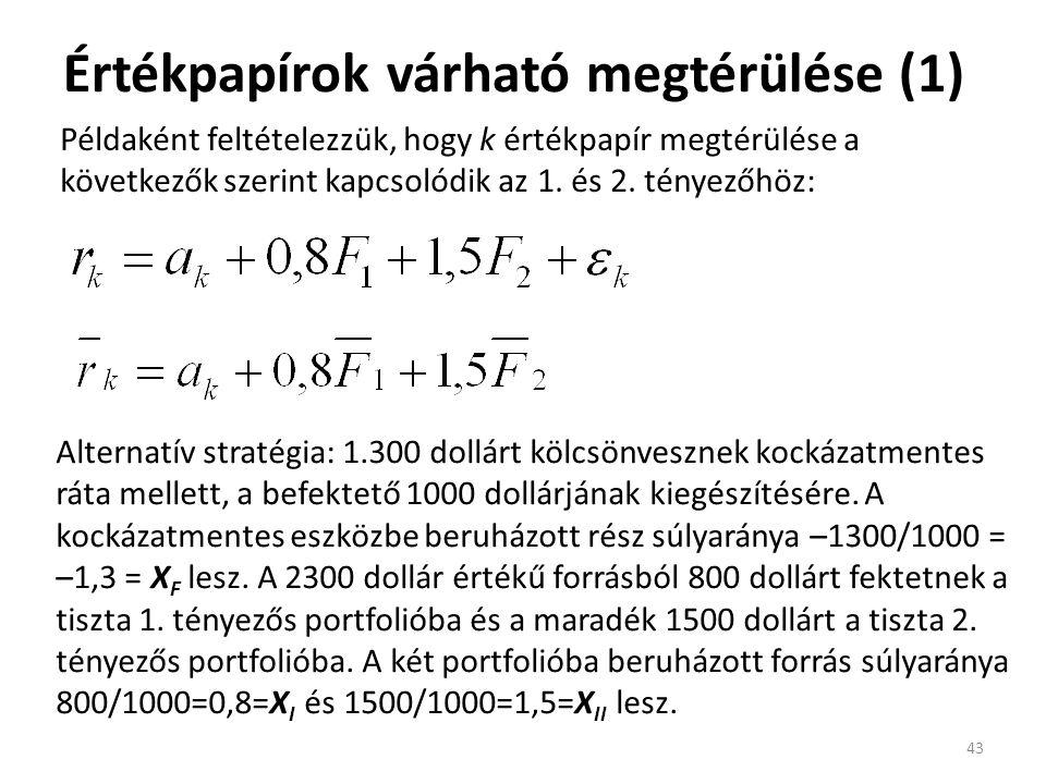 Értékpapírok várható megtérülése (1) 43 Példaként feltételezzük, hogy k értékpapír megtérülése a következők szerint kapcsolódik az 1. és 2. tényezőhöz