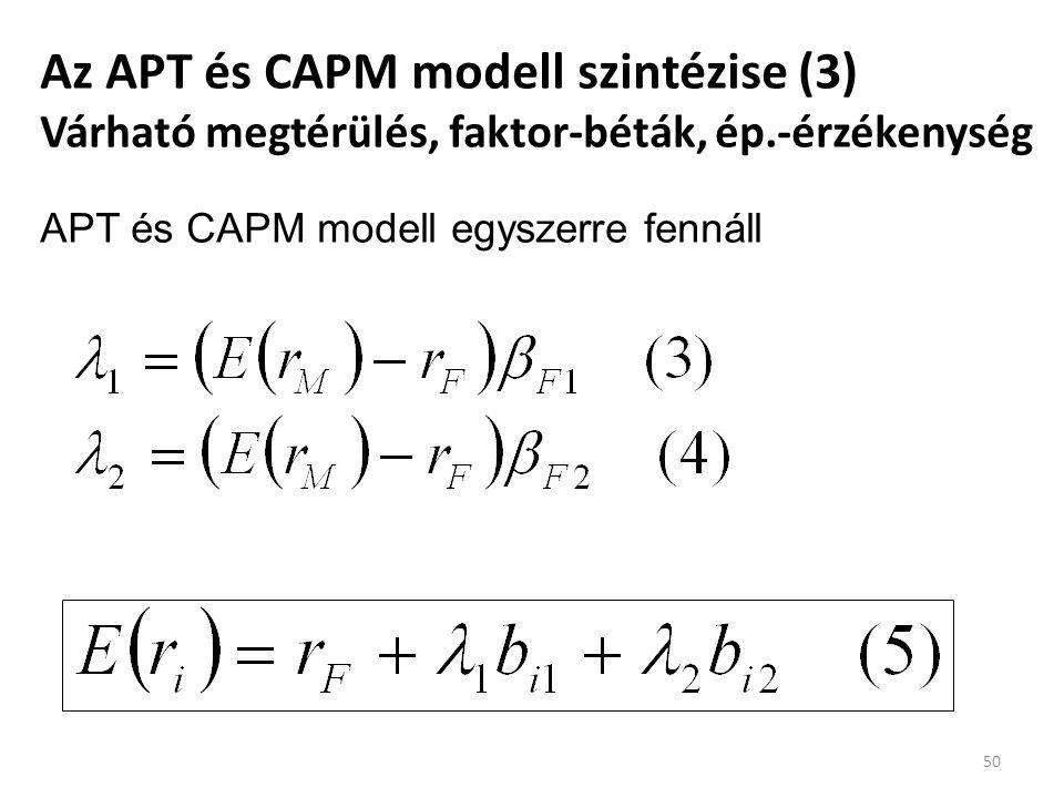 Az APT és CAPM modell szintézise (3) Várható megtérülés, faktor-béták, ép.-érzékenység 50 APT és CAPM modell egyszerre fennáll