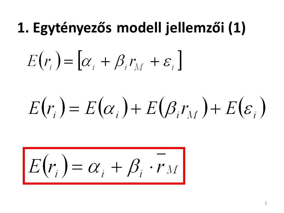 Az APT és CAPM modell szintézise (2) Béták és tényező-érzékenységek 47 Faktor-béták