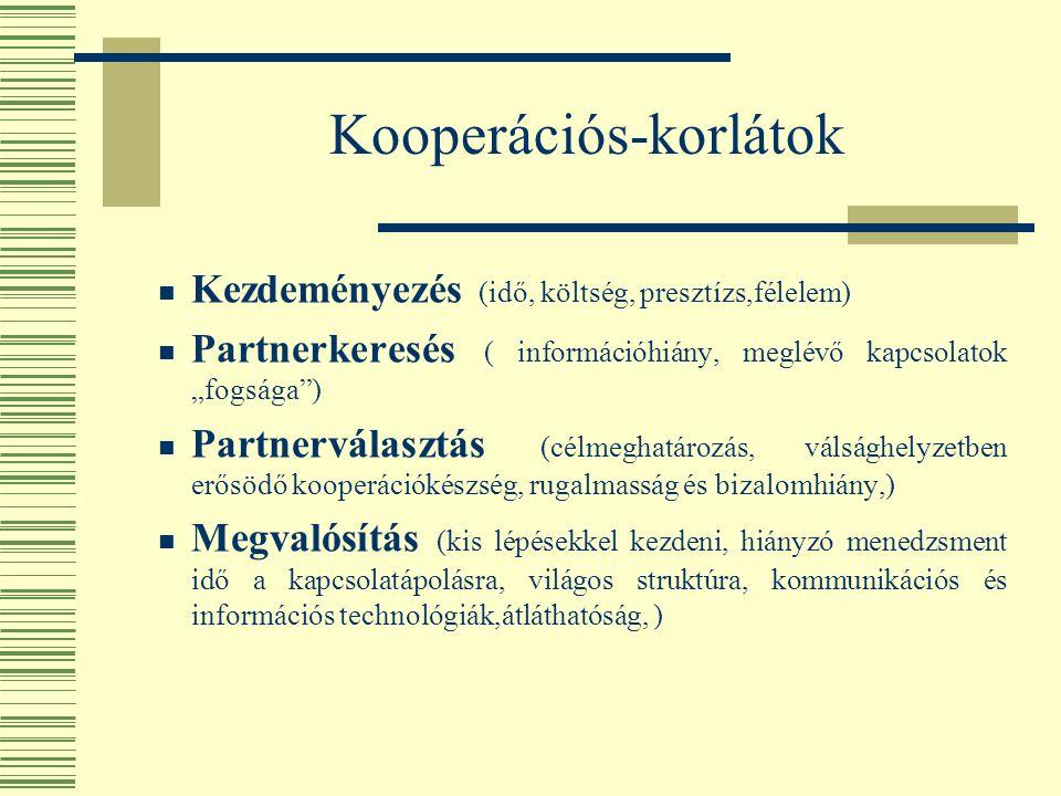 """Kooperációs-korlátok Kezdeményezés (idő, költség, presztízs,félelem) Partnerkeresés ( információhiány, meglévő kapcsolatok """"fogsága ) Partnerválasztás (célmeghatározás, válsághelyzetben erősödő kooperációkészség, rugalmasság és bizalomhiány,) Megvalósítás (kis lépésekkel kezdeni, hiányzó menedzsment idő a kapcsolatápolásra, világos struktúra, kommunikációs és információs technológiák,átláthatóság, )"""