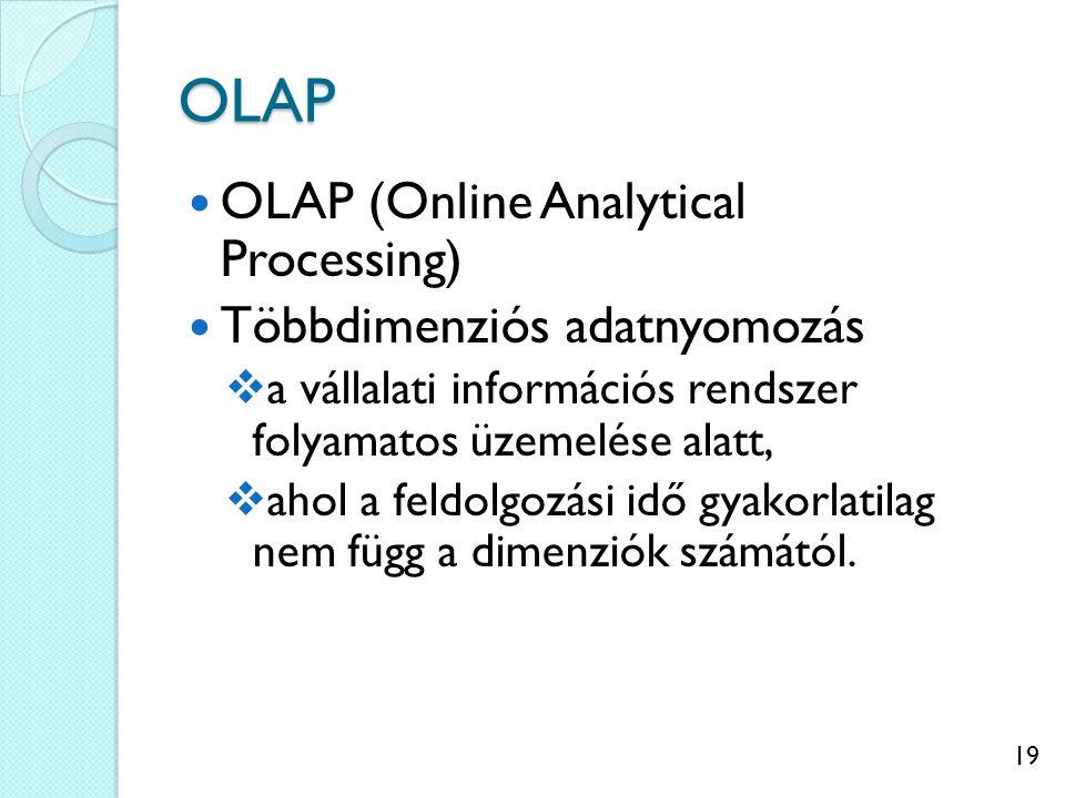 19 OLAP OLAP (Online Analytical Processing) Többdimenziós adatnyomozás  a vállalati információs rendszer folyamatos üzemelése alatt,  ahol a feldolgozási idő gyakorlatilag nem függ a dimenziók számától.