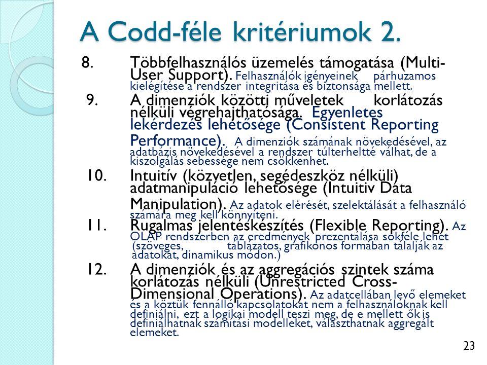 23 A Codd-féle kritériumok 2. 8.Többfelhasználós üzemelés támogatása (Multi- User Support).