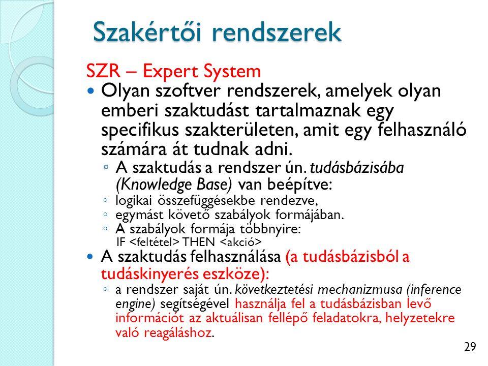 29 Szakértői rendszerek SZR – Expert System Olyan szoftver rendszerek, amelyek olyan emberi szaktudást tartalmaznak egy specifikus szakterületen, amit egy felhasználó számára át tudnak adni.