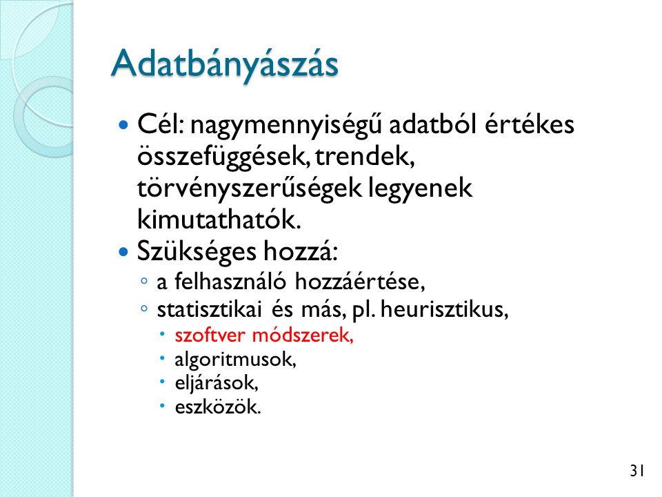 31 Adatbányászás Cél: nagymennyiségű adatból értékes összefüggések, trendek, törvényszerűségek legyenek kimutathatók.