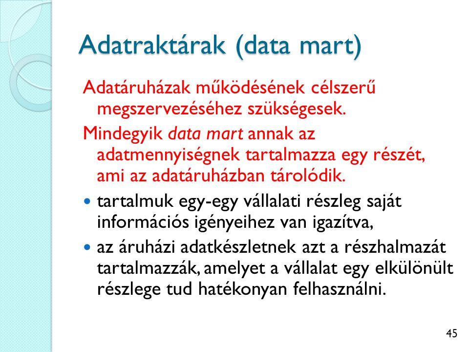 45 Adatraktárak (data mart) Adatáruházak működésének célszerű megszervezéséhez szükségesek.