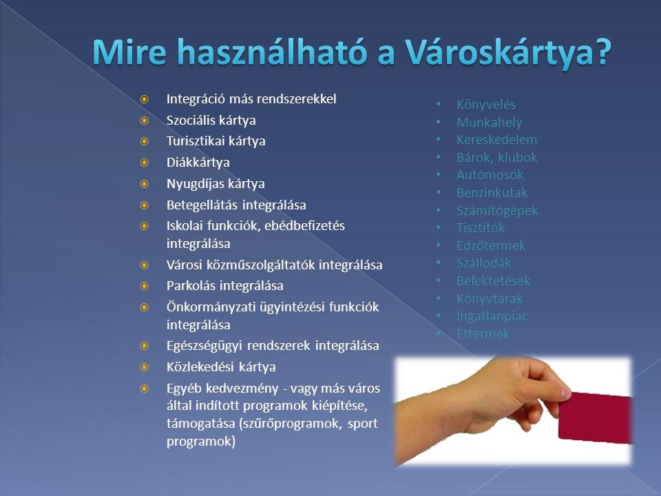  Integráció más rendszerekkel  Szociális kártya  Turisztikai kártya  Diákkártya  Nyugdíjas kártya  Betegellátás integrálása  Iskolai funkciók,