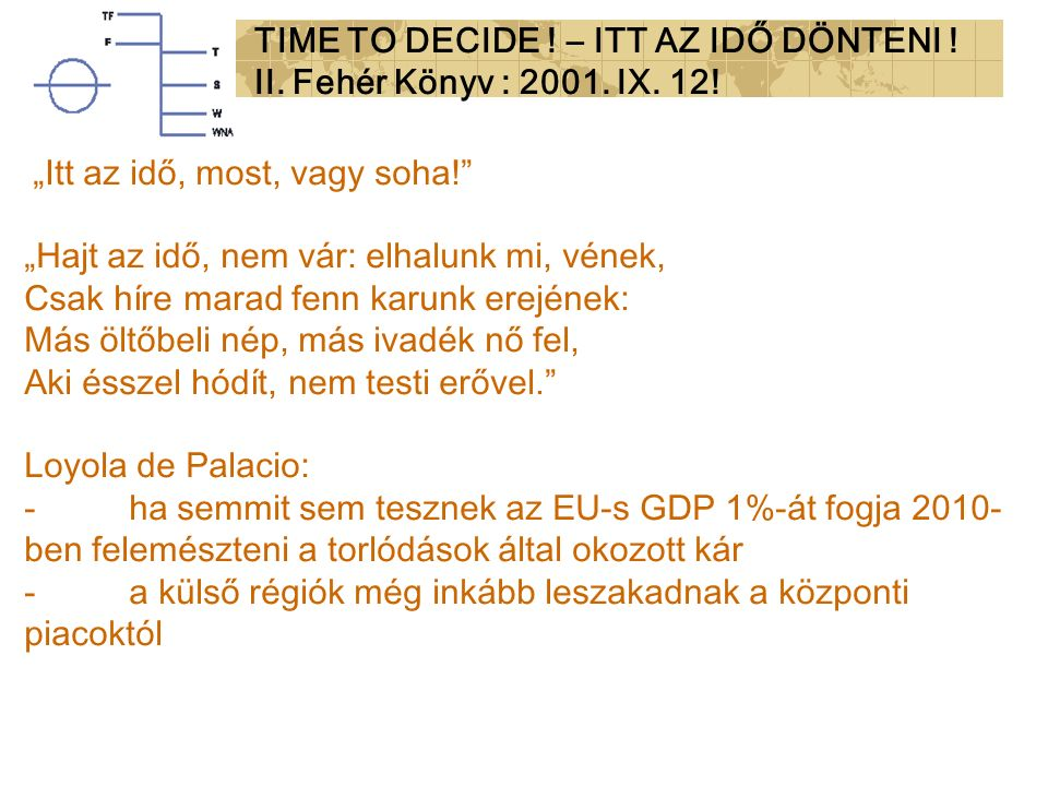 """""""Itt az idő, most, vagy soha! """"Hajt az idő, nem vár: elhalunk mi, vének, Csak híre marad fenn karunk erejének: Más öltőbeli nép, más ivadék nő fel, Aki ésszel hódít, nem testi erővel. Loyola de Palacio: -ha semmit sem tesznek az EU-s GDP 1%-át fogja 2010- ben felemészteni a torlódások által okozott kár -a külső régiók még inkább leszakadnak a központi piacoktól TIME TO DECIDE ."""