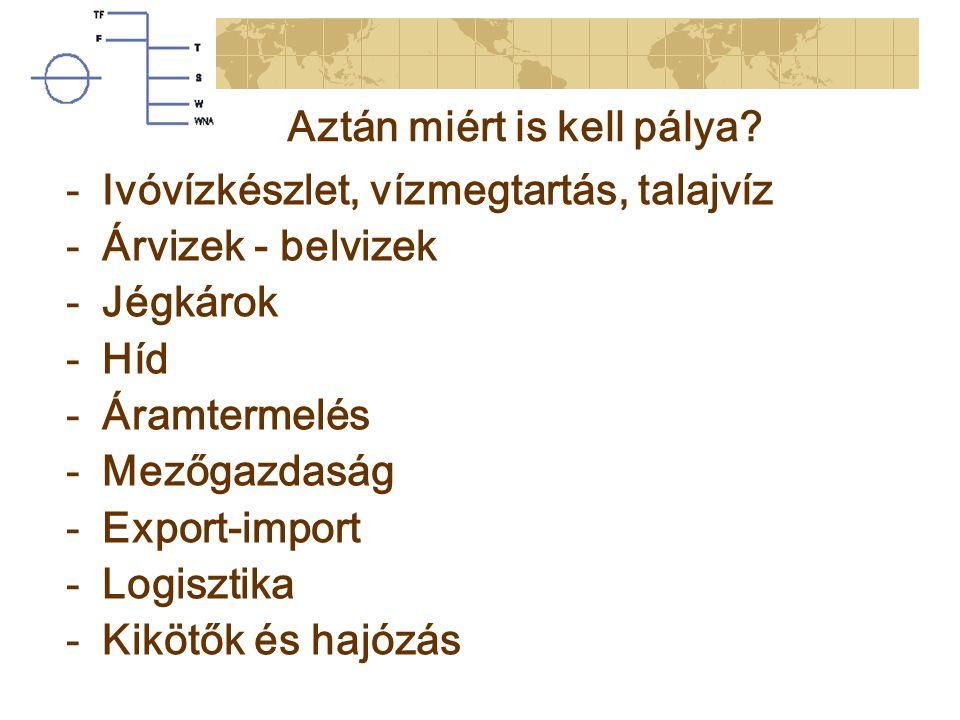 Aztán miért is kell pálya? -Ivóvízkészlet, vízmegtartás, talajvíz -Árvizek - belvizek -Jégkárok -Híd -Áramtermelés -Mezőgazdaság -Export-import -Logis