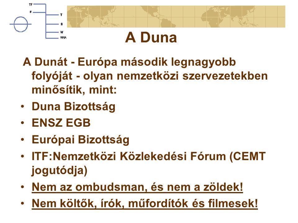 A Duna A Dunát - Európa második legnagyobb folyóját - olyan nemzetközi szervezetekben minősítik, mint: Duna Bizottság ENSZ EGB Európai Bizottság ITF:Nemzetközi Közlekedési Fórum (CEMT jogutódja) Nem az ombudsman, és nem a zöldek.