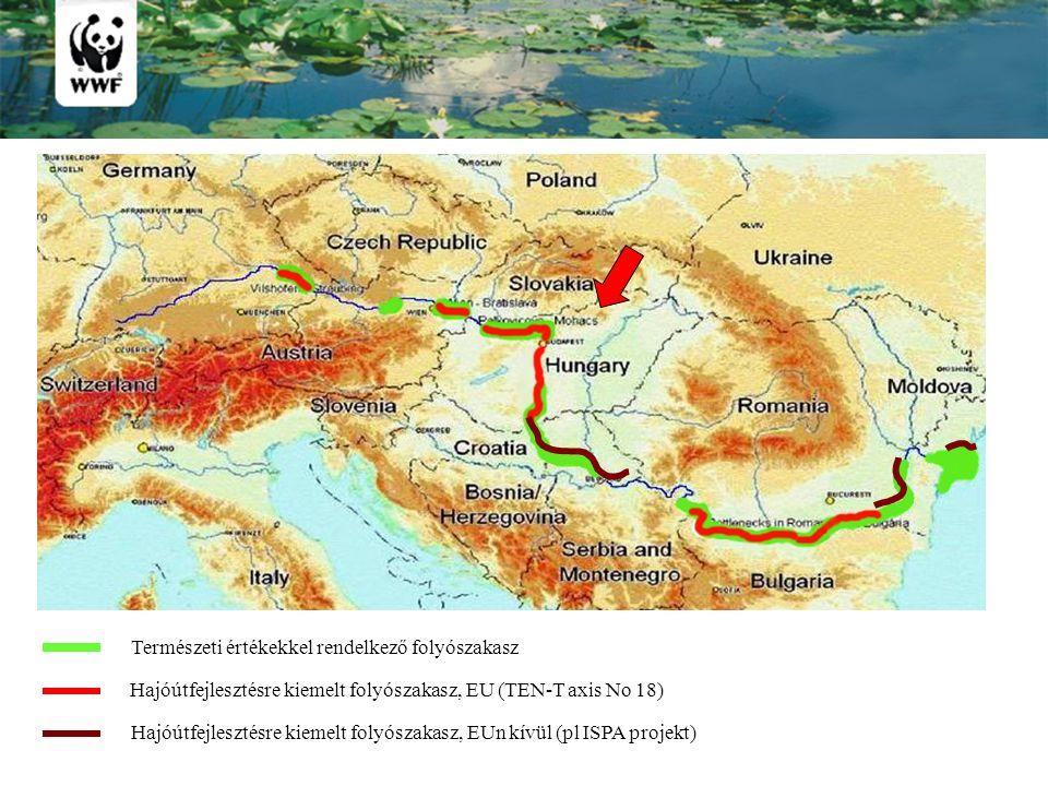 Természeti értékekkel rendelkező folyószakasz Hajóútfejlesztésre kiemelt folyószakasz, EU (TEN-T axis No 18) Hajóútfejlesztésre kiemelt folyószakasz, EUn kívül (pl ISPA projekt)
