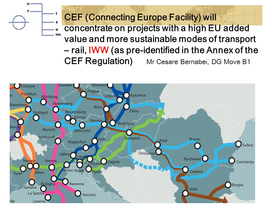CEF (Connecting Europe Facility) will concentrate on projects with a high EU added value and more sustainable modes of transport – rail, IWW (as pre-i