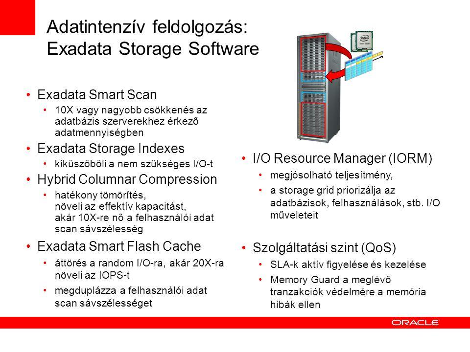 Adatintenzív feldolgozás: Exadata Storage Software Exadata Smart Scan 10X vagy nagyobb csökkenés az adatbázis szerverekhez érkező adatmennyiségben Exadata Storage Indexes kiküszöböli a nem szükséges I/O-t Hybrid Columnar Compression hatékony tömörítés, növeli az effektív kapacitást, akár 10X-re nő a felhasználói adat scan sávszélesség Exadata Smart Flash Cache áttörés a random I/O-ra, akár 20X-ra növeli az IOPS-t megduplázza a felhasználói adat scan sávszélességet I/O Resource Manager (IORM) megjósolható teljesítmény, a storage grid priorizálja az adatbázisok, felhasználások, stb.