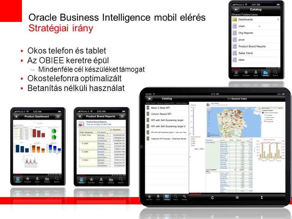 Oracle Business Intelligence mobil elérés Stratégiai irány Okos telefon és tablet Az OBIEE keretre épül – Mindenféle cél készüléket támogat Okostelefonra optimalizált Betanítás nélküli használat