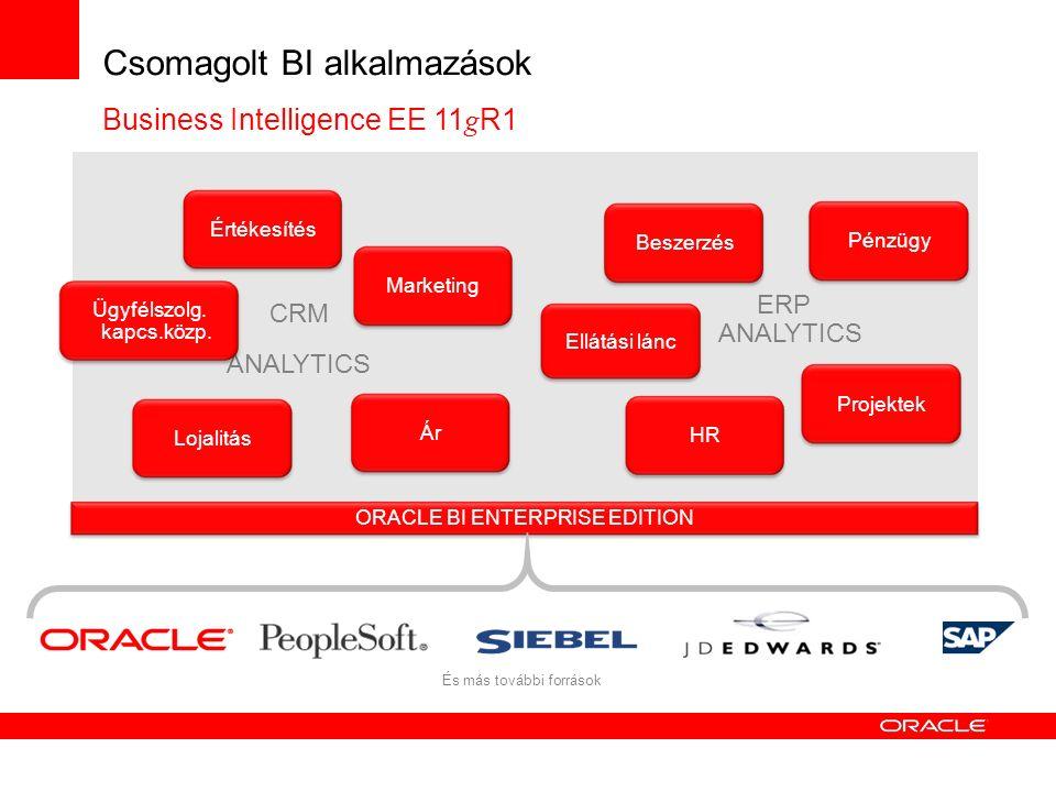 Csomagolt BI alkalmazások Business Intelligence EE 11 g R1 CRM ANALYTICS ERP ANALYTICS ORACLE BI ENTERPRISE EDITION És más további források Értékesíté