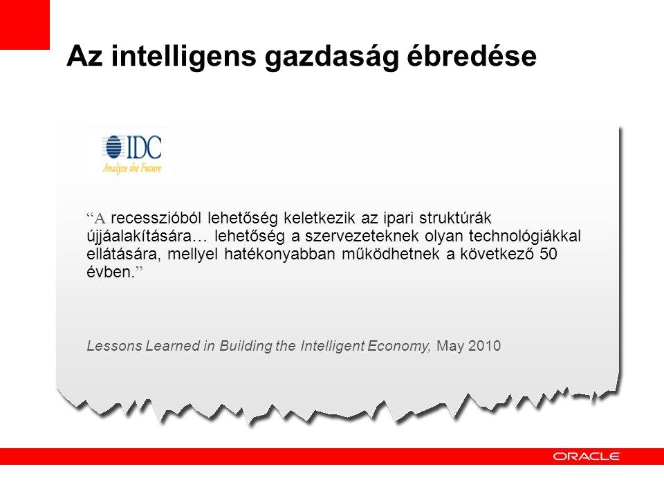 """Az intelligens gazdaság ébredése """"A recesszióból lehetőség keletkezik az ipari struktúrák újjáalakítására… lehetőség a szervezeteknek olyan technológi"""