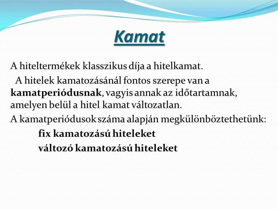 Kamat A hiteltermékek klasszikus díja a hitelkamat.