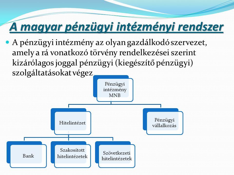 A magyar pénzügyi intézményi rendszer A pénzügyi intézmény az olyan gazdálkodó szervezet, amely a rá vonatkozó törvény rendelkezései szerint kizárólagos joggal pénzügyi (kiegészítő pénzügyi) szolgáltatásokat végez.
