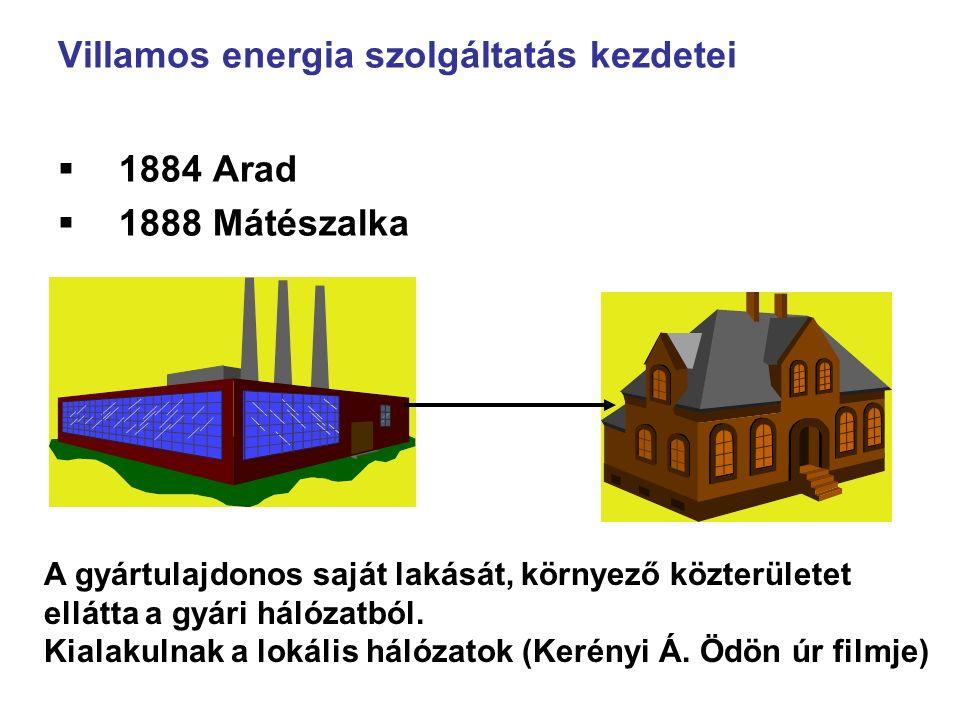 Villamos energia szolgáltatás kezdetei  1884 Arad  1888 Mátészalka A gyártulajdonos saját lakását, környező közterületet ellátta a gyári hálózatból.