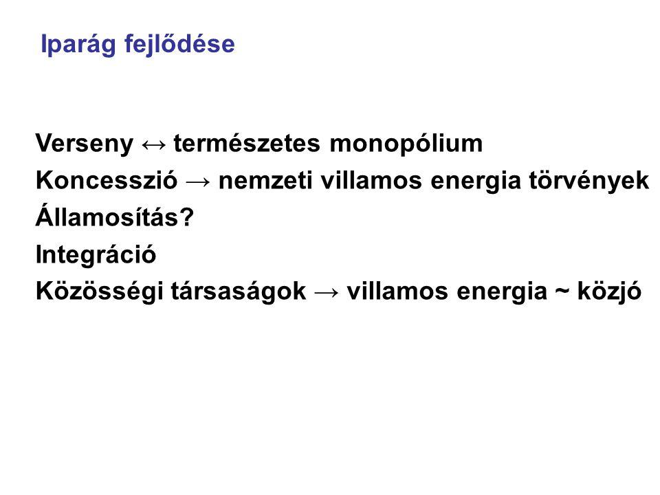 Iparág fejlődése Verseny ↔ természetes monopólium Koncesszió → nemzeti villamos energia törvények Államosítás? Integráció Közösségi társaságok → villa