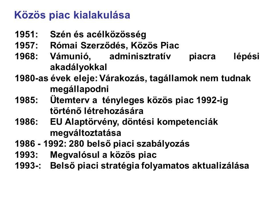1951:Szén és acélközösség 1957:Római Szerződés, Közös Piac 1968:Vámunió, adminisztratív piacra lépési akadályokkal 1980-as évek eleje: Várakozás, tagállamok nem tudnak megállapodni 1985: Ütemterv a tényleges közös piac 1992-ig történő létrehozására 1986: EU Alaptörvény, döntési kompetenciák megváltoztatása 1986 - 1992: 280 belső piaci szabályozás 1993: Megvalósul a közös piac 1993-: Belső piaci stratégia folyamatos aktualizálása Közös piac kialakulása