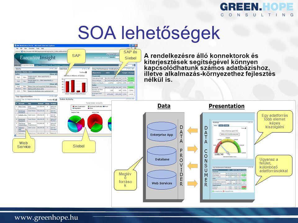 SOA lehetőségek A rendelkezésre álló konnektorok és kiterjesztések segítségével könnyen kapcsolódhatunk számos adatbázishoz, illetve alkalmazás-környezethez fejlesztés nélkül is.