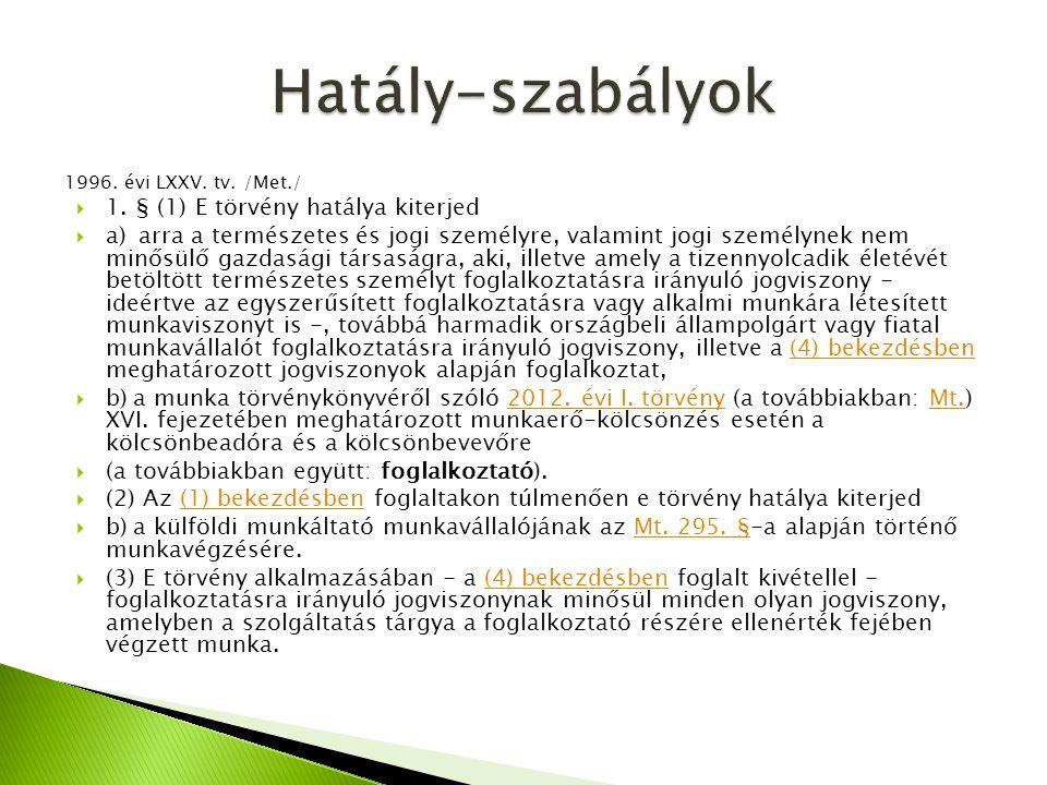 1996. évi LXXV. tv. /Met./  1. § (1) E törvény hatálya kiterjed  a) arra a természetes és jogi személyre, valamint jogi személynek nem minősülő gazd