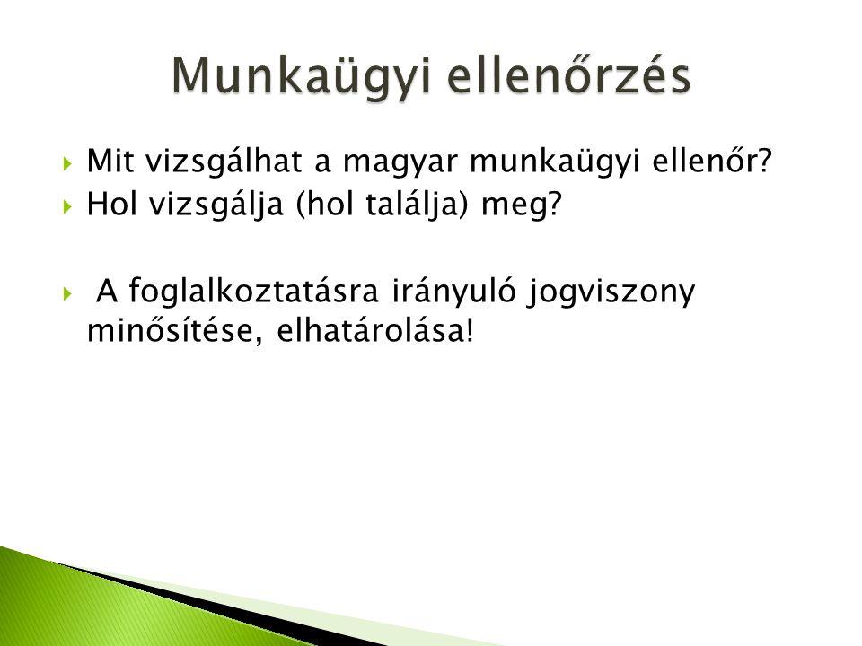  Mit vizsgálhat a magyar munkaügyi ellenőr?  Hol vizsgálja (hol találja) meg?  A foglalkoztatásra irányuló jogviszony minősítése, elhatárolása!