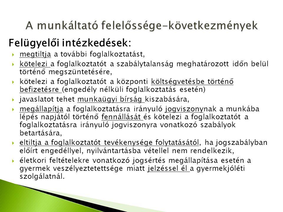 Felügyelői intézkedések:  megtiltja a további foglalkoztatást,  kötelezi a foglalkoztatót a szabálytalanság meghatározott időn belül történő megszün